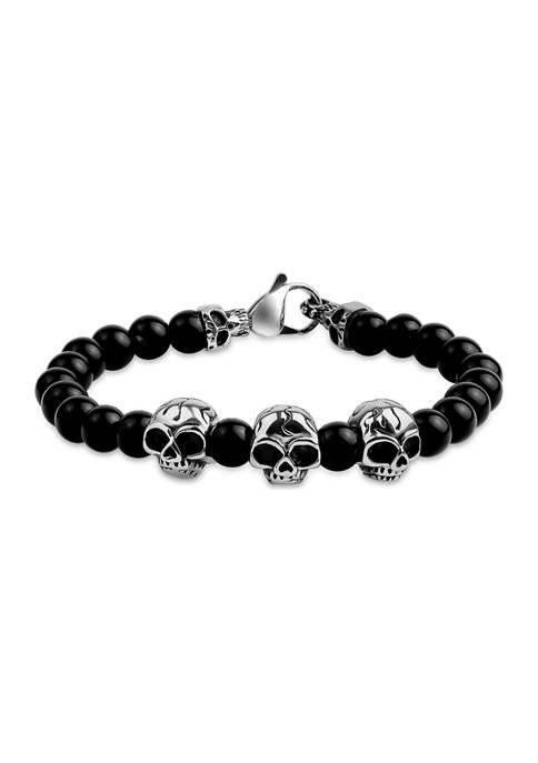 Stainless Steel Triple Skull and 8mm Black Glass Bead 8.5-Inch Bracelet