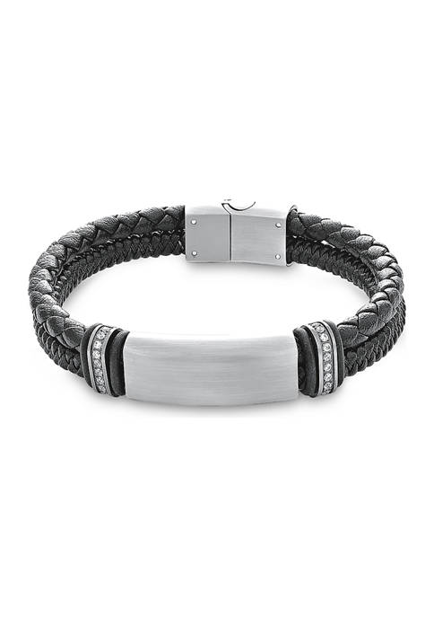 Forever New Stainless Steel and Braided Leather with