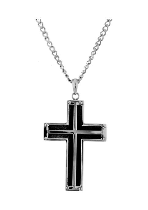Forever New Stainless Steel Black Ion Plated Cross
