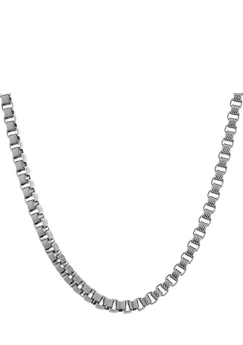 Stainless Steel Diamond Cut Box Link 22 Inch Necklace