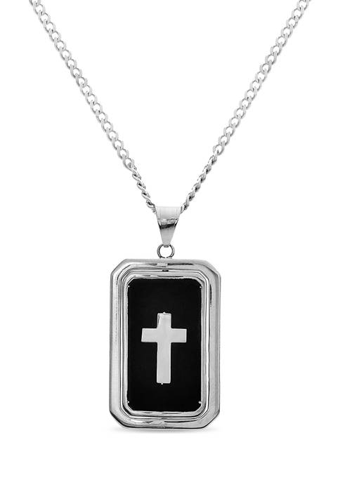 Stainless Steel Reversible Black Ion Plated with Cross and White Cubic Zirconia Dog Tag Pendant Necklace