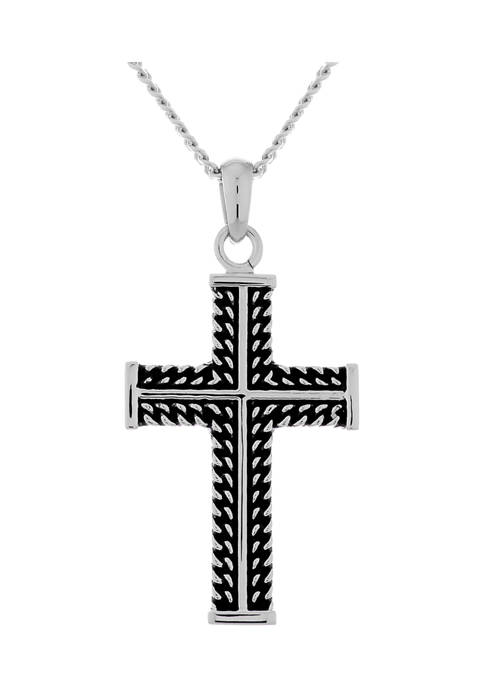 Stainless Steel Black Ion Plated Cross with Braid Pendant Necklace