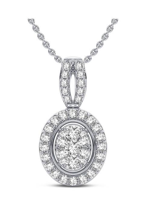 Lab Created 14K White Gold 18 Inch Round Diamond Fashion Pendant Necklace