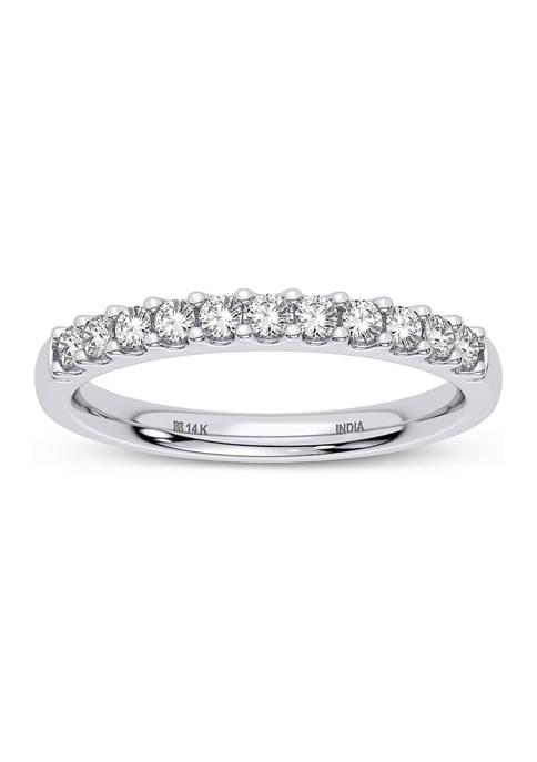 Lab Created 14K White Gold  Round Diamond Fashion Band Ring