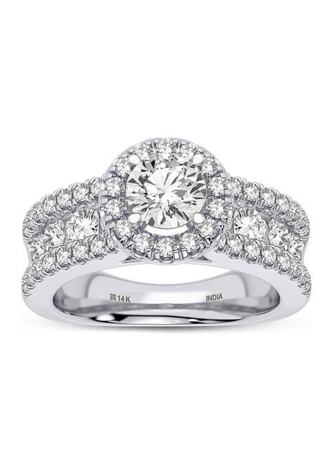 Lab Created 14K White Gold Round Diamond Fashion Ring