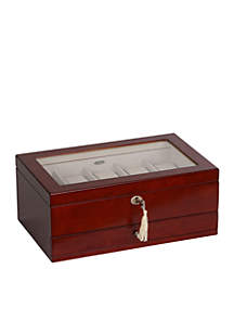 Christo Glass Top Wooden Watch Box in Walnut Finish