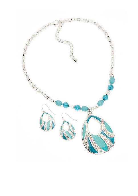 Silver-Tone Blue Teardrop Necklace and Earring Boxed Set