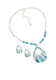 Kim Rogers® Silver-Tone Blue Teardrop Necklace and Earring Boxed Set