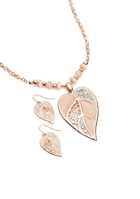 Rose Gold-Tone Leaf Filigree Beaded Necklace and Earrings Set