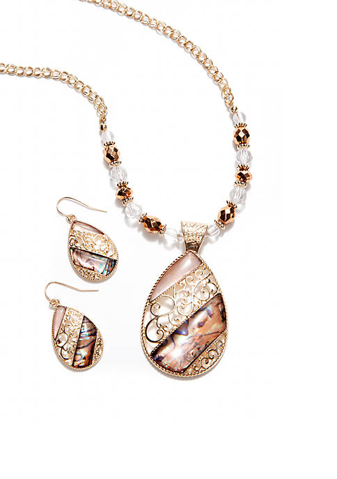 Natural Open Filigree Teardrop Necklace And Earring Set