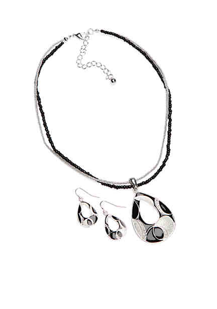 Kim Rogers Silver Tone Jet Open Teardrop Pendant And Earrings Boxed Set