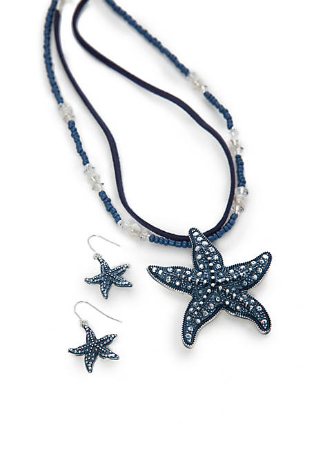 Kim Rogers® Silver Tone Blue Starfish Pendant Necklace