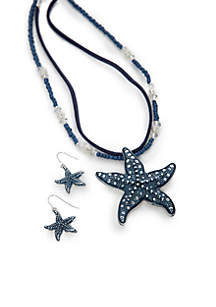 Silver-Tone Blue Starfish Pendant Necklace and Earrings Boxed Set