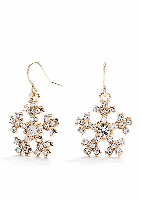 f2866d3b8 Kim Rogers® Gold-Tone Crystal Snowflake Drop Earrings   belk