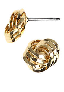 Gold-Tone Knot Button Pierced Earring
