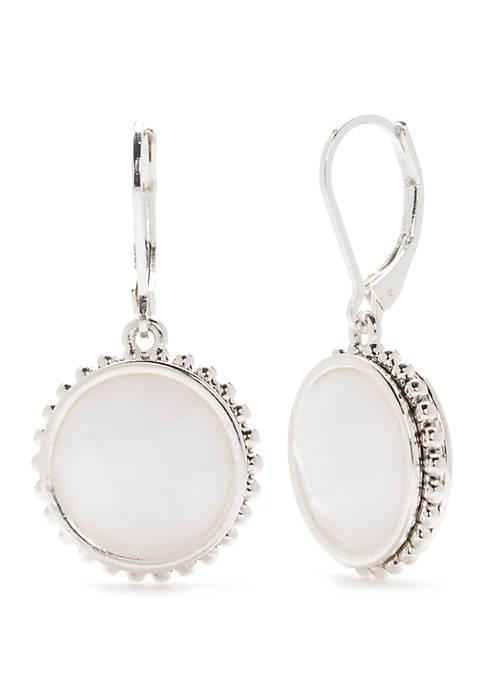 Silver Tone Circle Drop Earrings