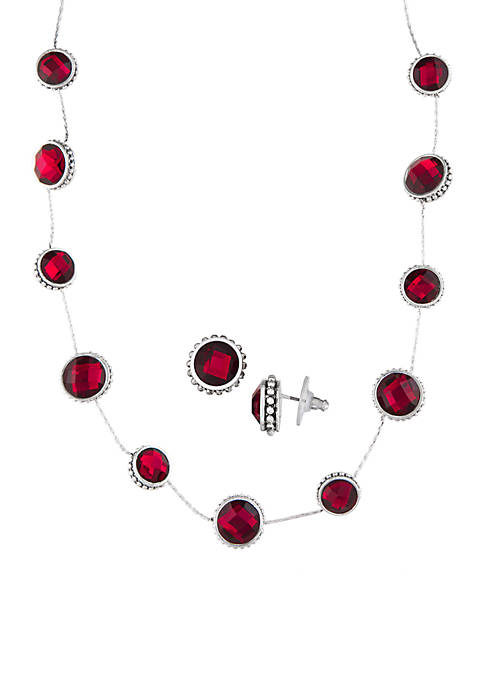Collar Necklace and Stud Earring Set