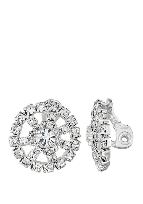 Crystal Stone Button Clip Earrings