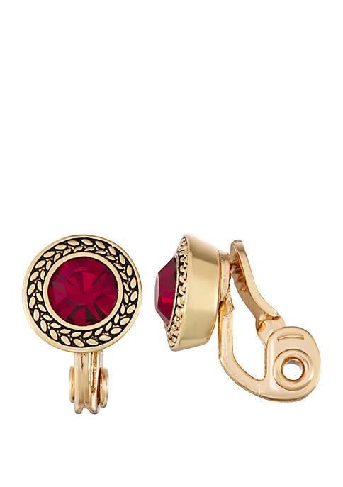 Gold Tone Siam EZ Comfort Clip Button Earrings