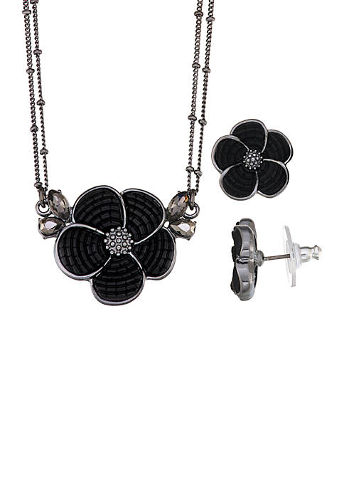 Floral Pendant and Earring Set