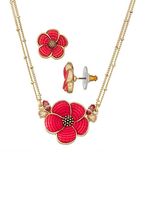 Floral Pendant Necklace Earrings Set