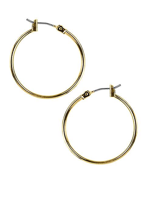 Gold-Tone Tubular Hoop Earrings