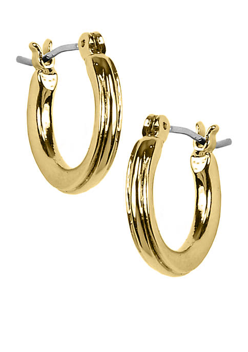 Napier Polished Gold-Tone Hoop with Textured Design Earrings