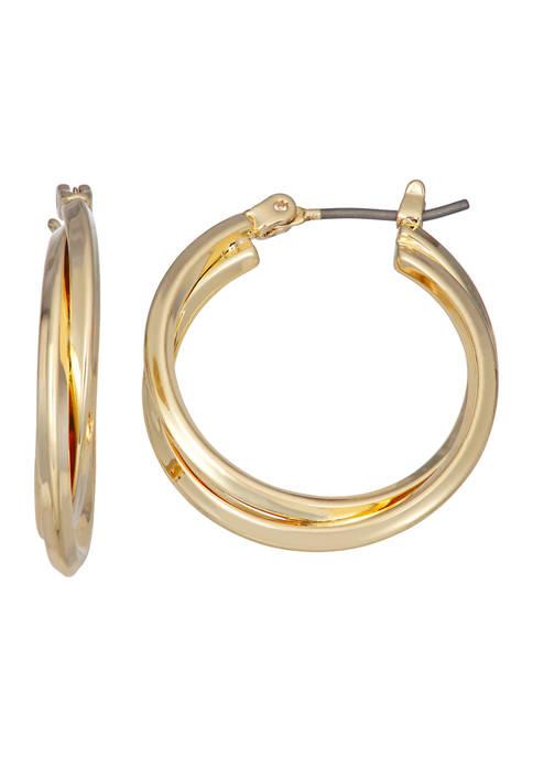 Napier Gold Tone 25 Millimeter Medium Double Hoop