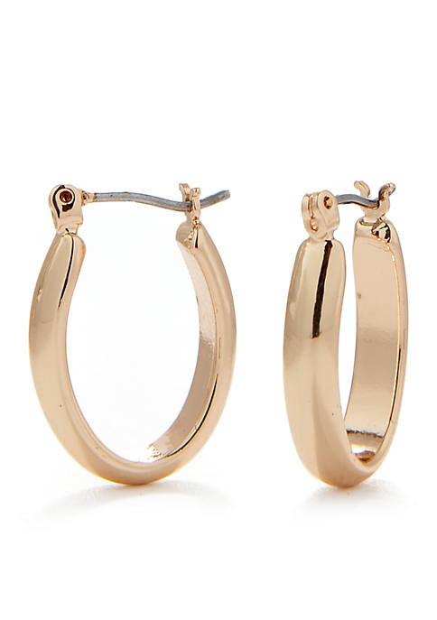 Napier Gold-Tone Oval Hoop Earrings