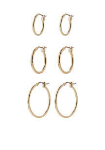 Set of Three Gold-Tone Hoop Earrings