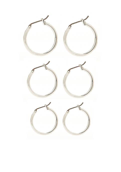Napier Set of Three Silver-Tone Hoop Earrings