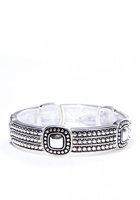Antiqued Silver-Tone Stretch Bracelet
