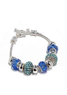 Silver-Tone and Blue Bead Slider Bracelet