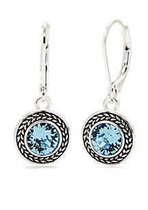 Silver-Tone and Aqua Swarovski Crystal Drop Earrings
