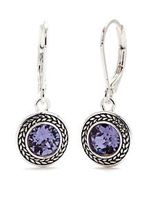 Silver-Tone and Purple Swarovski Crystal Drop Earrings