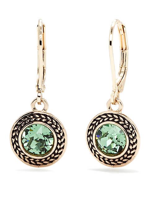 Napier Gold-Tone and Green Swarovski Crystal Drop Earrings