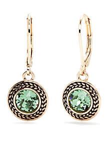 Gold-Tone and Green Swarovski Crystal Drop Earrings