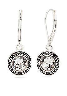Silver-Tone Swarovski Crystal Drop Earrings
