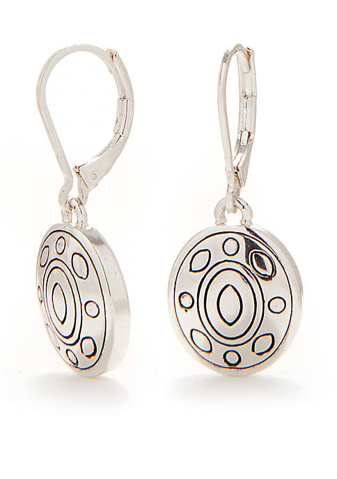 Napier Antiqued Silver Tone Small Drop Earrings