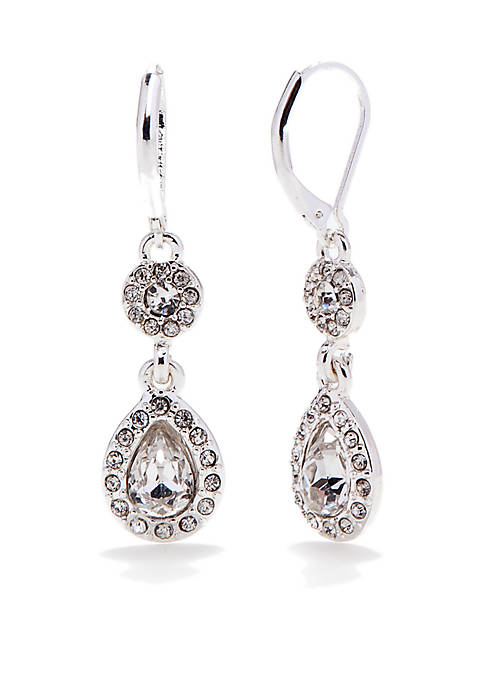 Napier Silver-Tone and Crystal Double Drop Earrings