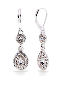 Silver-Tone and Crystal Double Drop Earrings
