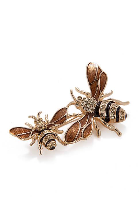 Napier Boxed Gold-tone Bees Pin