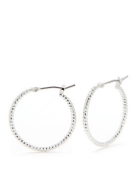 Silver-Tone Textured Hoop Earrings