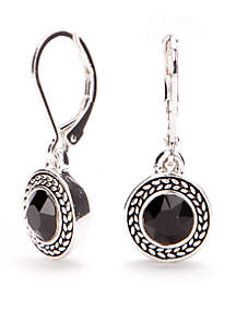 Silver-Tone Jet Drop Earrings