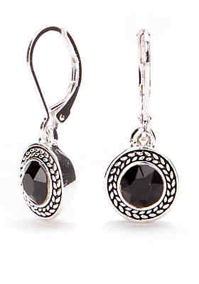 Napier Silver Tone Jet Drop Earrings