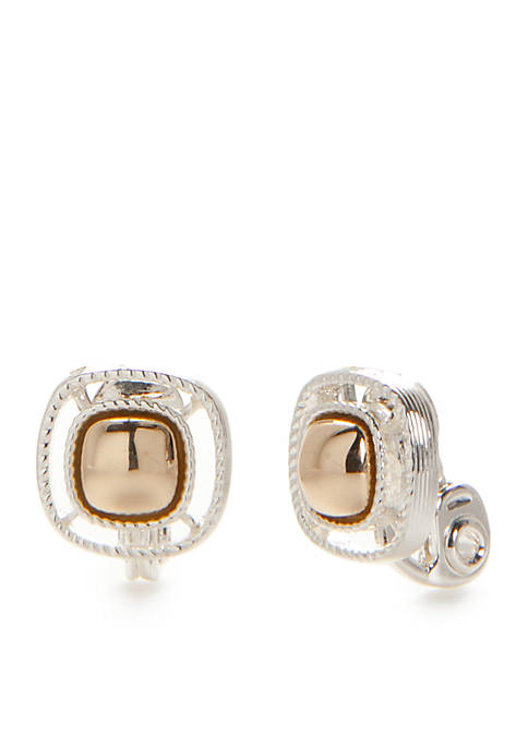 Napier Two-Tone Button Clip Earrings