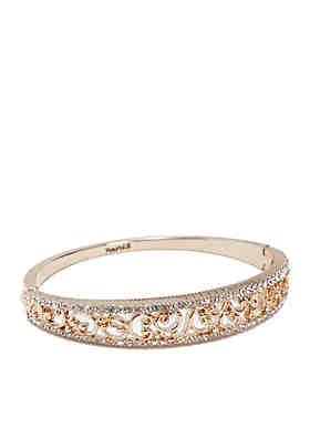 bf042aebeddb Napier Gold Tone Filigree Hinge Bangle Boxed Bracelet ...