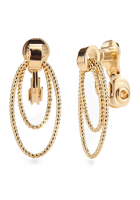 Sparkling Links Gold Tone Multi Ring Clip Earrings