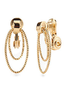 Sparkling Links Gold-Tone Multi Ring Clip Earrings