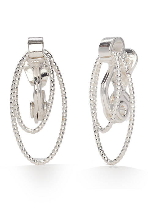 Napier Silver-Tone Classic Textured Links Clip Earrings